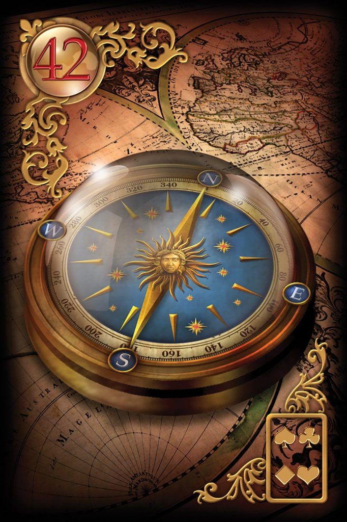 """Описание, трактовка и значение карты """"Компас"""" и других карт к расширенной колоде Ленорман Gilded Reverie находятся на этом сайте"""