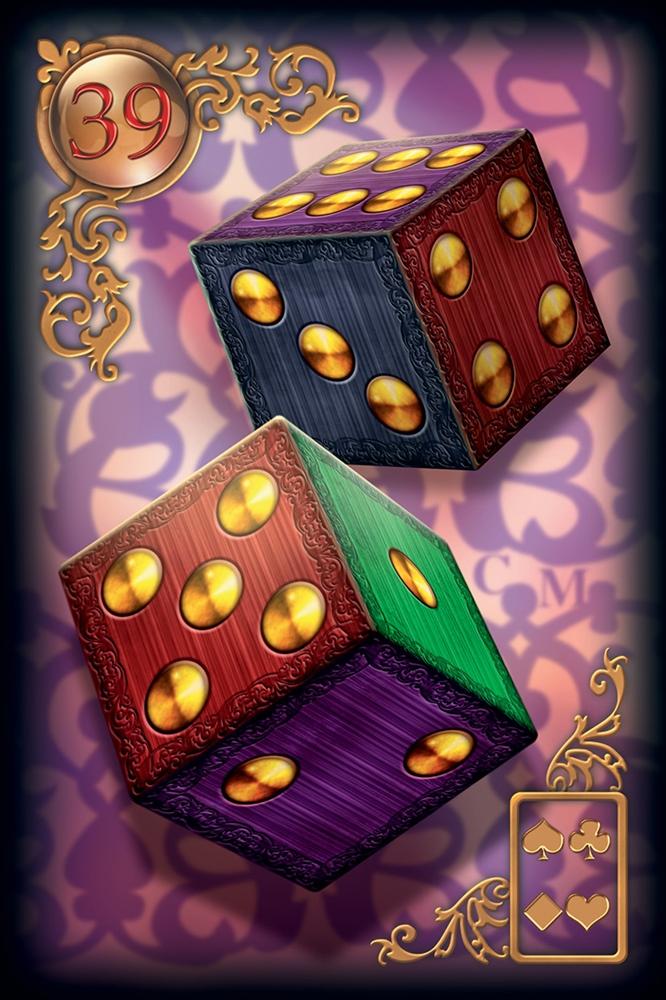 значение и трактовка карты кубики к расширенной колоде Ленорман Gilded Reverie